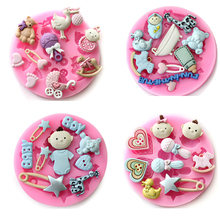 Baby Shower Party Modeling Cake Decoration Fondant Baby Toy Shape Chocolate Cookie Silicone Mold 3D Food Grade Silicone Mould