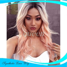 synthetic lace front wig Ombre Light Pink Bodywave Long Cheap Heat Resistant Synthetic Hair Lace Front Wigs For Black Women