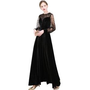Image 4 - FADISTEE Mới đến buổi tối thanh lịch prom dresses Vestido de Festa Áo Choàng Áo Choàng De Dạ Hội velour ren phun đầy tay áo váy