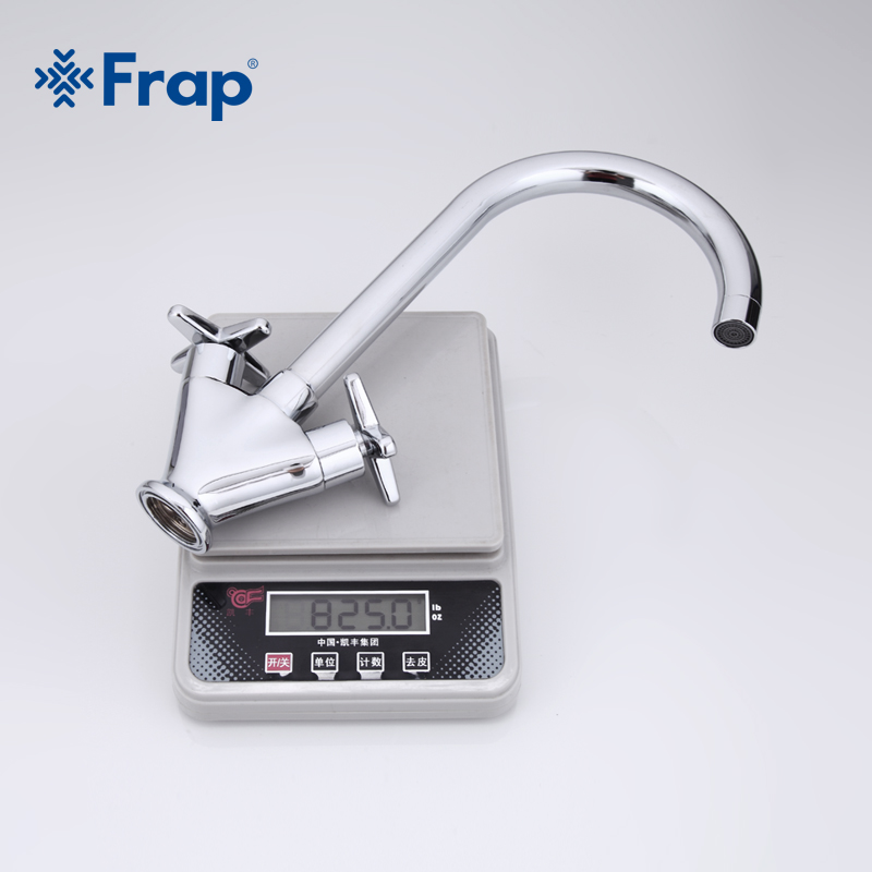 Frap Simple Style Dual Handle Cold and hot Water Mixer Tap Kitchen Faucet Outlet Pipe of Gooseneck Design F4098 & F4099