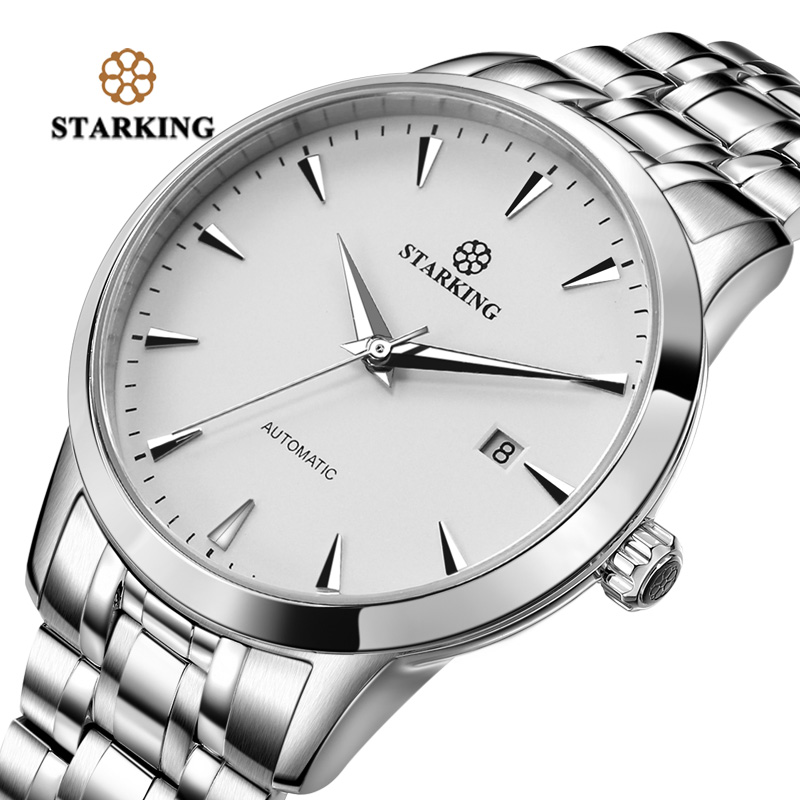 <font><b>STARKING</b></font> <font><b>Automatic</b></font> Watch Men AM0184 Stainless Steel Simple Black watch 28800 Beats Movt <font><b>Sapphire</b></font> Crystal Wrist Watch Waterproof image