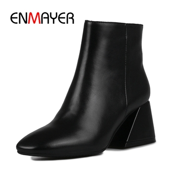 ENMAYER  Square Toe  Basic  Ankle  Genuine Leather  Square Heel  Zapatos De Mujer  Boots Women Size34-39 ZYL1782