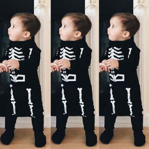 a46285dd0a92 Pudcoco 2018 Toddler Baby Boy Girl Halloween Clothes Set Skeleton ...