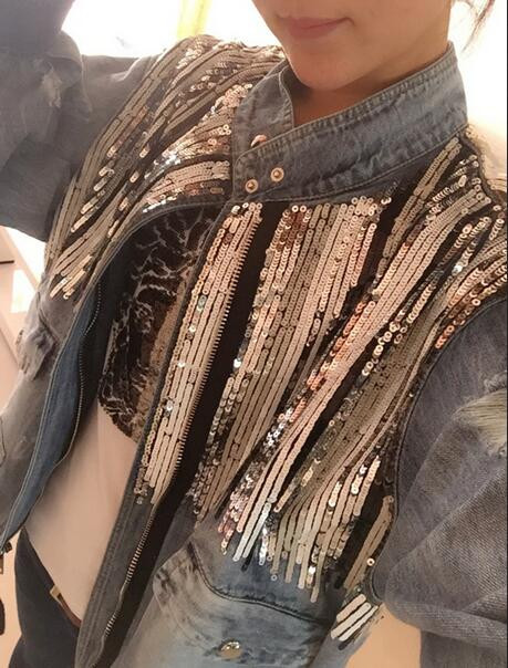 Plus size New fashion Brand bling bling Sequins Denim Jacket Outerwear women's Oversize Loose Jeans Coat great quality wj126 1