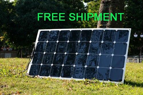 Prix pour Solarparts 1 pcs 100 w flexible pv panneau solaire 12 v cellule solaire/module/kit rv/camping-car/bateau/batterie de voiture chargeur caravane sunpower lumière