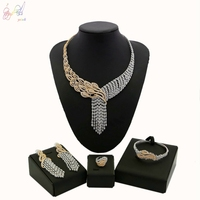 YULAILI New Luxury Heart&Arrows Zircon Women Fashion Two Tone Gold Color Wedding Jewelry Sets for Wedding Party Accessories