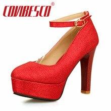 Plus la Taille 34-50 Vente Chaude Plates-Formes Femmes Pompes Haute Talons De Mariage chaussures Bout Rond Partie de Club de Danse Chaussures Pour Femme Rouge Pompes