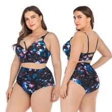 swimsuit plus size bikini set high waisted bikini set 4XL large size swimwear women Retro Print push up Bikinis Beach Wear 100kg все цены