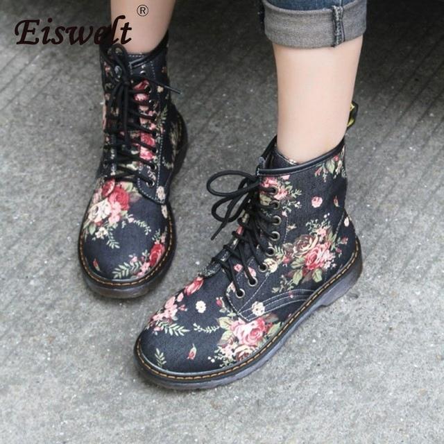 EISWELT Kadın Martin Çizmeler Moda çiçekli ayakkabı Lace Up Motosiklet Oxfords Flats yarım çizmeler Kadınlar için Rahat Bahar Sonbahar