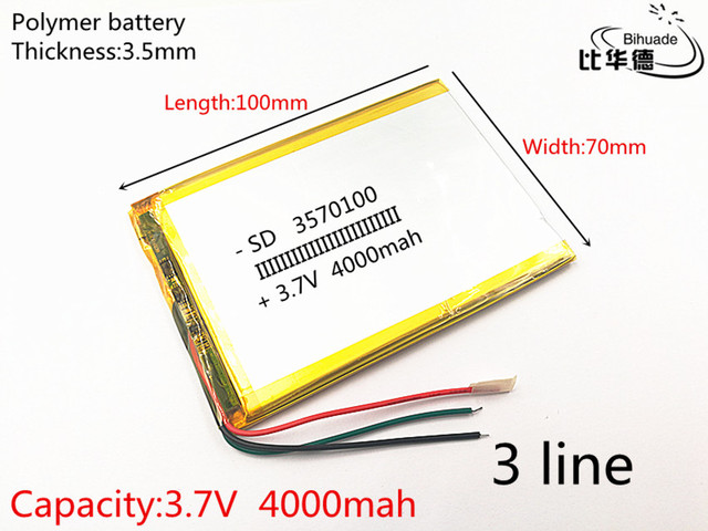 3 สาย 1 ชิ้น/ล็อต 3570100 3.7 V 4000 mAH แบตเตอรี่โพลิเมอร์ลิเธียมไอออนแบตเตอรี่ Li   Ion สำหรับแท็บเล็ตพีซี 7 นิ้ว 8 นิ้ว 9 นิ้ว