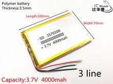 3 draad 1 stks/partij 3570100 3.7 V 4000 mAH lithium polymeer ion batterij Li Ion batterij voor tablet pc 7 inch 8 inch 9 inch