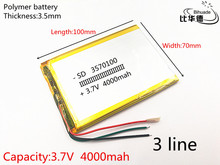 3 wire 1pcs/lot 3570100 3.7V 4000mAH polymer lithium ion battery Li ion battery for tablet pc  7 inch 8 inch 9inch