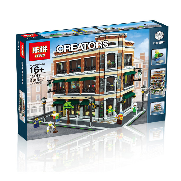 016 LEPIN 15017 4616Pcs City Street Creator Starbucks Bookstore Cafe Model Building Kit Blocks Bricks Compatible