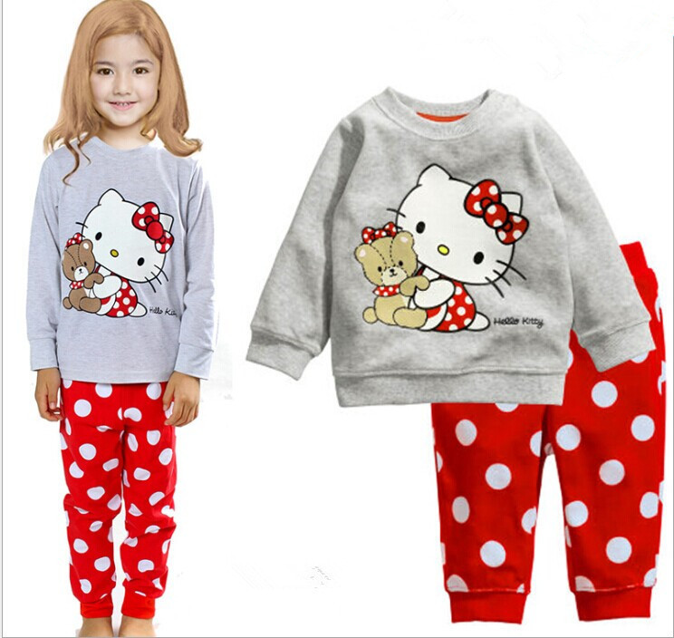 2016 spring and autumn new girl children dot KT cat loose long sleeved pants font b