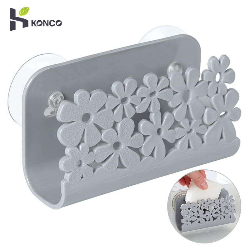 Konco Kitchen Storage Rack Sink Organizer With Suction Sponge Holder Dish Brush Holder Rack Dish Rug Drainer