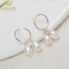 ASHIQI Natural Freshwater Pearl korean earrings Real 925 Sterling Silver Jewelry for Women Handmade Wedding fashion 2019 Gift цена