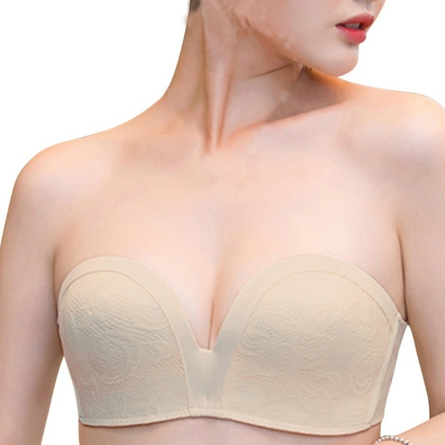 927cbd2aff939 Women Sexy Push up Invisible Bra Slightly Lined Lift Great Support Lace  Strapless Bra