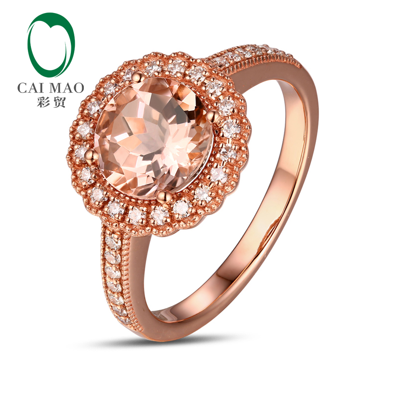 CaiMao 14KT/585 Rose Gold 0.29ct Round Cut Diamond 1.85ct Natural Morganite Engagement Ring Jewelry caimao jewelry 14kt rose gold 2 31ct pink topaz and 0 24ct natural diamond engagement ring