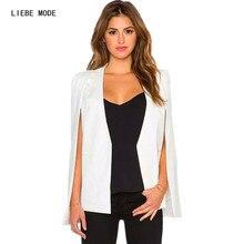 European Style 2016 Spring Summer Office Ladies Jacket White Light Blue Cape Blazer Women Lapel Split Long Sleeve Blazer Cape