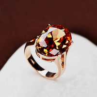 Brilliant Amazing Super Big Champagne CZ Diamond Ring Large Oval Orange Crystal Ring 18K Gold Plated