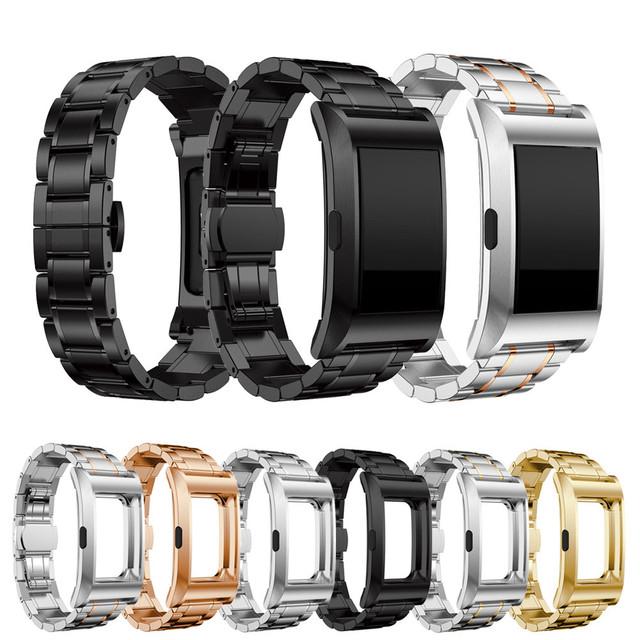 Alta Qualidade 2017 Nova Desgin faixas de relógio de ouro rosa Inoxidável Steel Watch Band Strap Fecho Metálico + Armação de Metal Para Fitbit carga 2