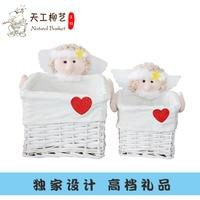 Nautical gift Wicker Willow Storage Baskets Set of 2 cute girl Decor Storage Baskets Organizing Basket Willow Lined 2pcs