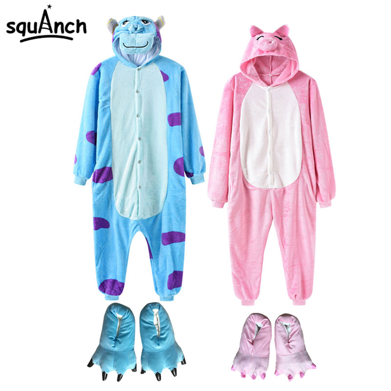 2019 New Animal Onesie With Slippers Women Men Pajama Overall Cartoon Anime Monster Bear One Piece Flannel Kigurumi Funny Suit