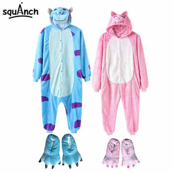 2019 New Animal Onesie With Slippers Women Men Pajama Overall Cartoon Anime Monster Bear One Piece Flannel Kigurumi Funny Suit - DISCOUNT ITEM  25% OFF All Category