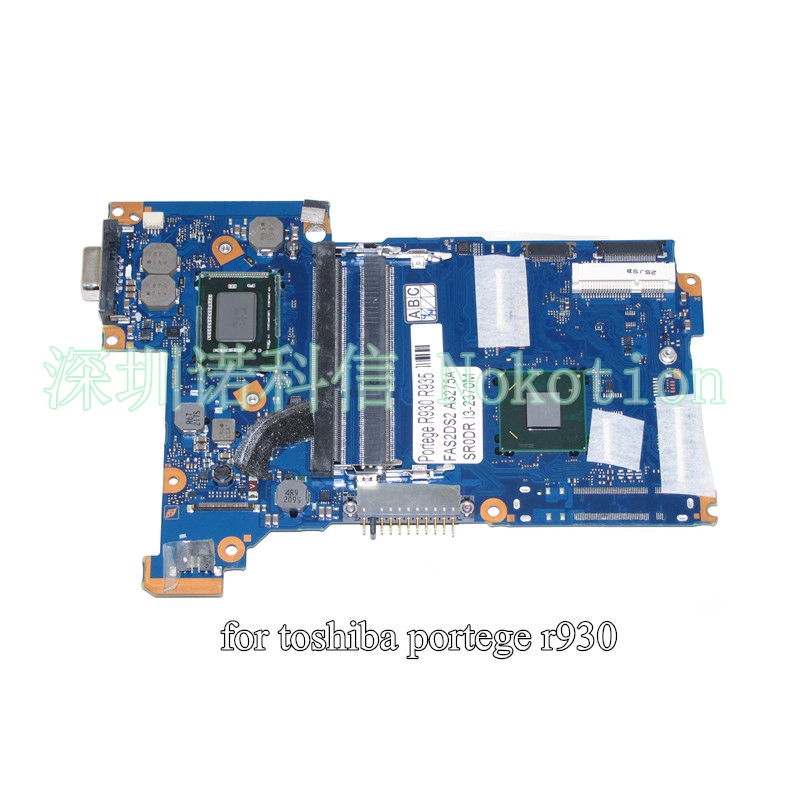 NOKOTION FAS2DS2 A3275A for toshiba Portege R930 R935 laptop motherboard HD4000 HM76 SR0DR I3-2370M