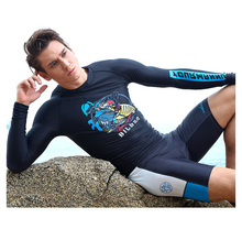Men's Long Sleeved Pants Split Swimsuit Super Elastic Sun Surfing Floating Diving Suit