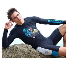 Men's Long Sleeved Pants Split Swimsuit Super Elastic Sun Surfing Floating Diving Suit
