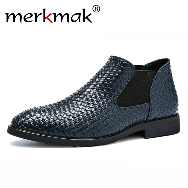 Merkmak Shoes Footwear Casual-Boots Men Slip-On Weave Flats-Man's Comfortable Larger-Size