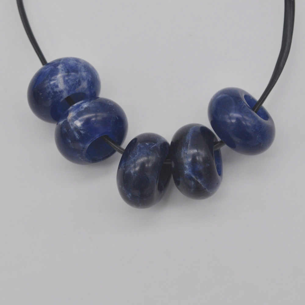 14MM Brazilian Sodalite Big Hole Loose Beads Charms Fit Charms Jewelry For Woman Gift Bracelet Findings (5 pcs/lot) H168