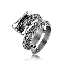 MINCN New fashion adjustable silver dragon ring mens stainless steel domineering personality jewelry opening punk gothic