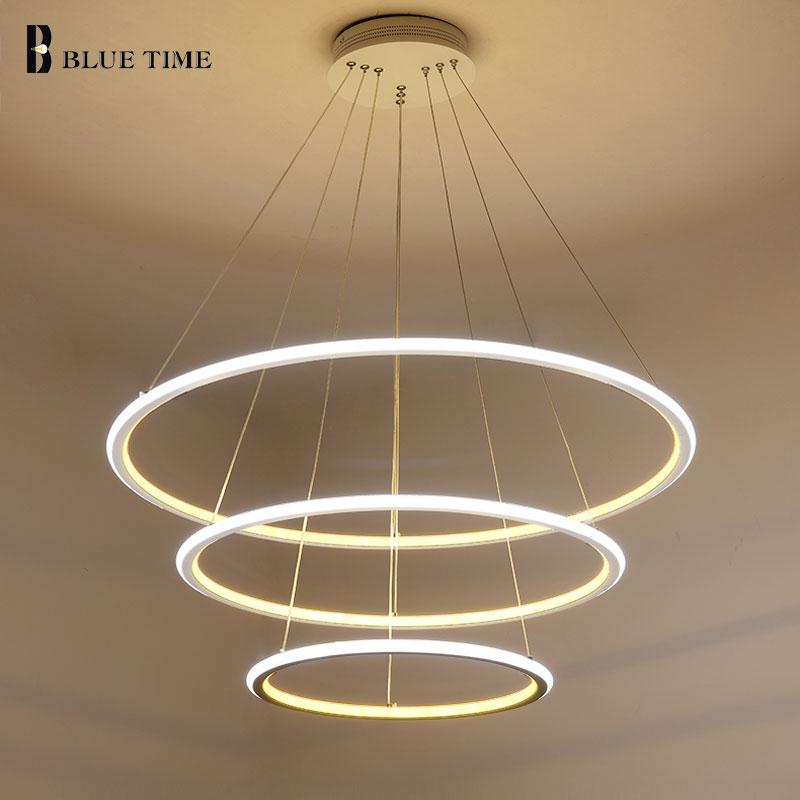 Новые современные 3 круга кольца светодио дный светодиодные подвесные светильники для гостиной столовой светодио дный LED Lustre подвесной све...