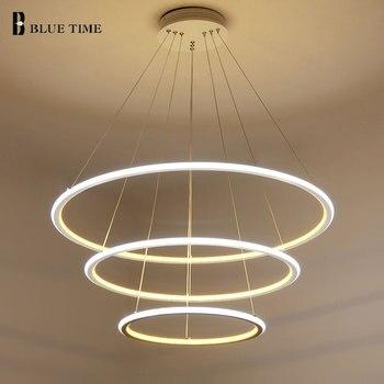 Новый современный 3 круг кольца led подвесные светильники для гостиной столовая led блеск подвесной светильник подвесной потолочный светильник