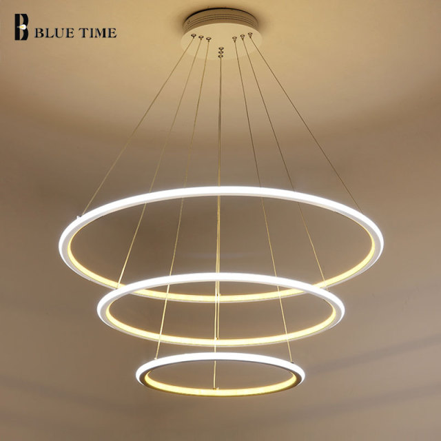 new modern 3 circle rings led pendant lights for living room dining room led lustre pendant lamp. Black Bedroom Furniture Sets. Home Design Ideas