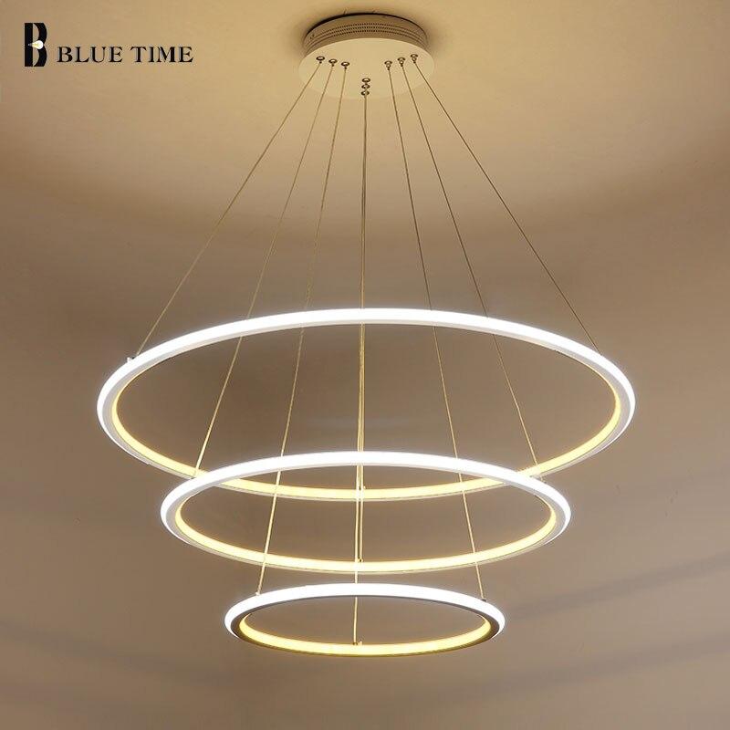 Nuevo moderno 3 anillos de círculo LED luces colgantes para sala de estar comedor LED Lustre lámpara colgante techo luminaria