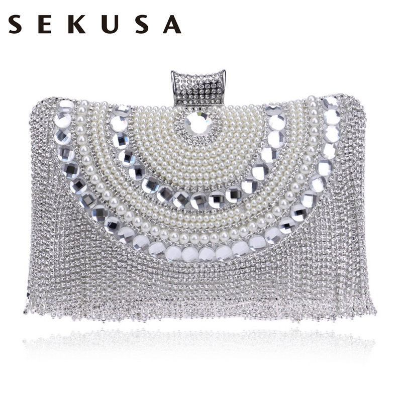 SEKUSA Crystal Pearl Women Clutch Bag Diamonds Beaded Chain Shoulder Handbags Tassel Rhinestones Small Purse Evening Bag все цены