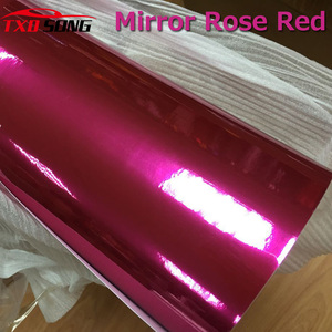 Image 2 - high stretchable rose red Chrome Air Bubble Free Mirror Vinyl Wrap Film Sticker Sheet emblem Car Bike Motor Body Cover