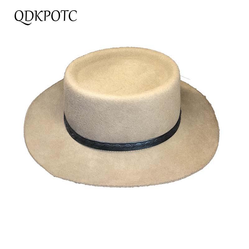 QDKPOTC 2018 New Wool Felt Hat England Women Fedora Hat Wide Brim Hats Small  Leather Rope Elegant Lady Hat Christmas GIfts 4a9da66aba0