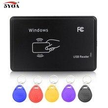 Copiadora RFID, 125KHz EM4100 Cloner, escritor, duplicador, lector + 5 uds. EM4305 T5577, ID regrabable, Keyfobs, etiquetas de tarjeta