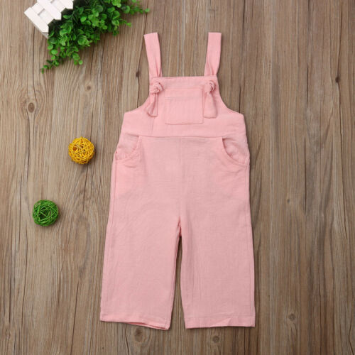 Jumpsuit Overalls Dungaree Toddler Girl Boys Kids Linen Straight Summer 1-5T 3-Colors