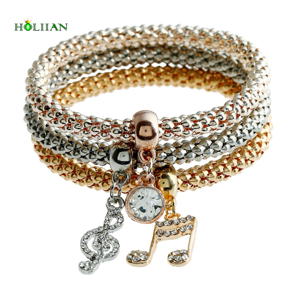 women Gold-color crystal strass carter love bracelet&bangles rhinestone egyptian music letter beads silver chain set jewelry