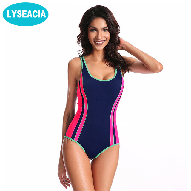 LYSEACIA Slimming One Piece Swimsuit for Girls Striped Bathing Suit  Adjustable Straps Swimwear Women monokini maillot de bain d5b086f5d7b