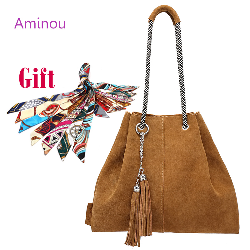 Women Genuine Leather Bag Casual Real Leather Tote Bags Vintage Soft Cowhide Shoulder Handbags Solid Tassels Bag Bolsa Feminina
