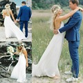 Bohemian Backless Lace Beach Wedding Dress 2017 Sexy Spaghetti Straps Hippie Bridal Gowns Boho Wedding Dres
