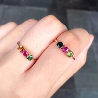 Gemstone Natural Tourmaline Ring 18K Rose Gold Simple Style Fine Women Girl Jewelry Free Shipping Multi
