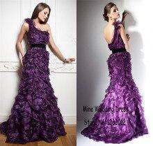 Schulter schwarz sash handgemachte spezielle layered Gekräuselten Organza abendkleid Lila Prom kleid partyabend elegant