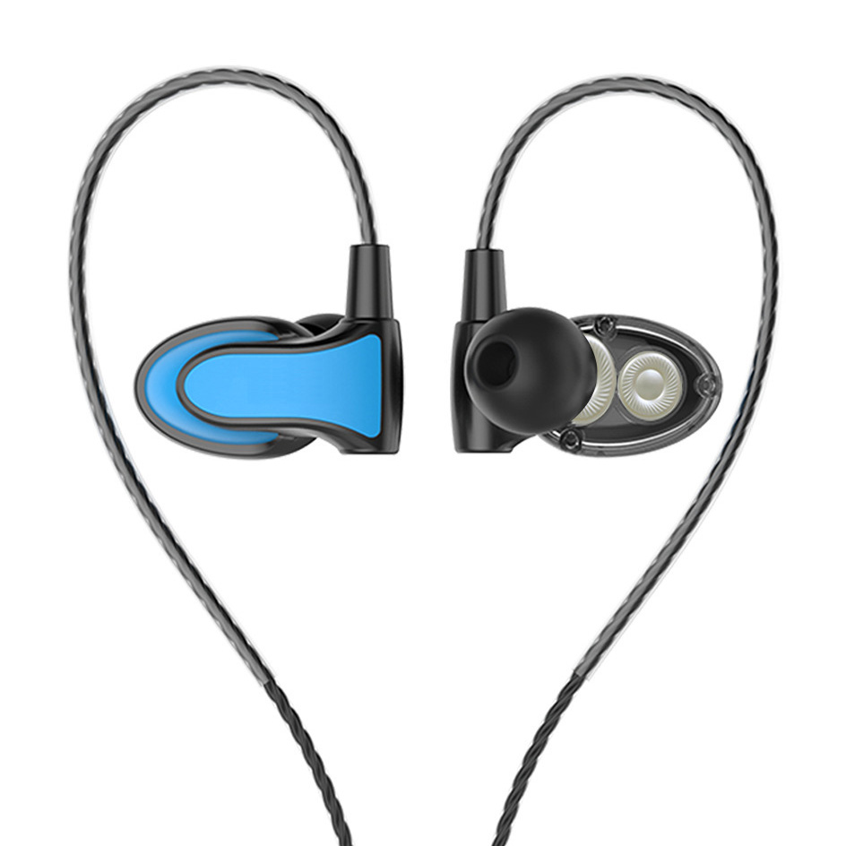 RUKZ DT2 Dual Dynamic Speaker HiFi Sport Earphones with Mic for Smartphone Stereo Earbuds HiFi Headset Bass Ear Hook Earpieces original senfer dt2 ie800 dynamic with 2ba hybrid drive in ear earphone ceramic hifi earphone earbuds with mmcx interface